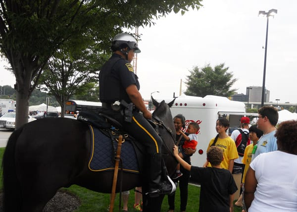 Officers from the Cleveland Police Mounted Unit were on hand to visit with the children.