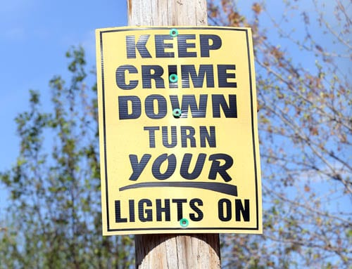 Keep crime down, turn your lights on