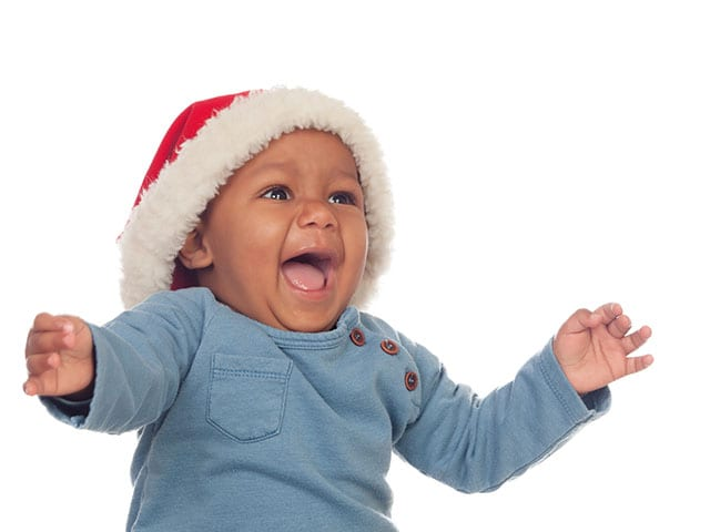 Adorable baby with santa hat