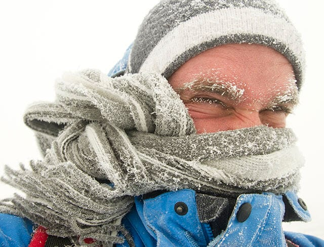 Man outside bundled up in the cold