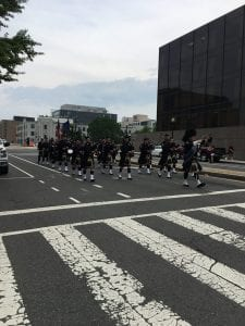 The Cleveland Division of Police Pipes & Drums and Honor Guard participated in the Annual Emerald Society & Pipe Band Parade. This event includes law enforcement departments from across the United States. The parade ended at the National Police Officers Memorial and a viewing of the inscribed name of Fallen Cleveland Patrol Officer David J. Fahey, Jr.
