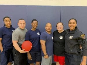 4th District and Community Relations officers at A.B. Hart Middle School with Kick Ball with Cops